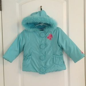 Bon Bebe Blue Winter Coat w/ Embroidered F…